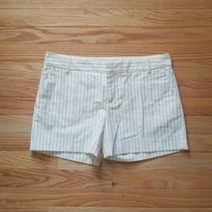 ZARA BASIC Cream Striped Shorts