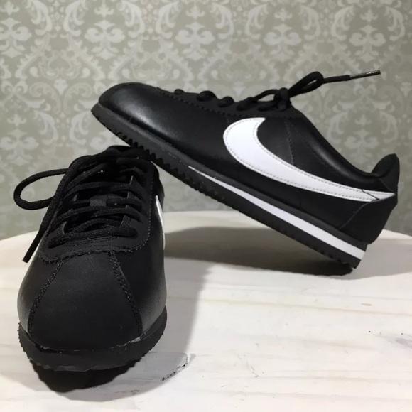 07f40c23d1ab11 Nike Cortez Black White GS Low Shoes 749482-001 4Y