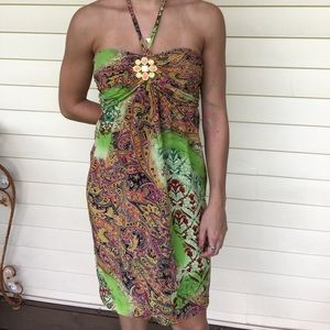 Single Multi-color Strapless Dress