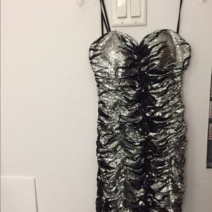 black and silver mini party dress