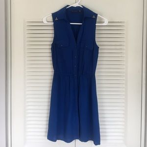 Casual Blue Button-up dress