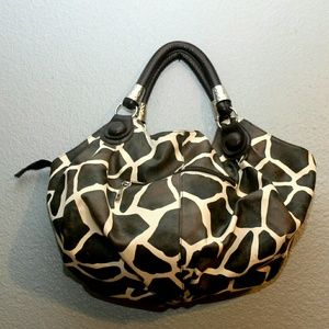 Handbags - Hand held Giraffe Print Vegan Leather Hobo Bag