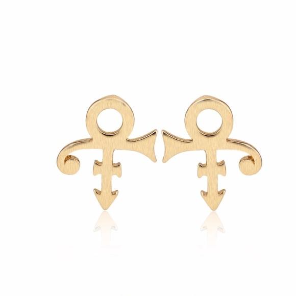 Jewelry Prince Symbol Gold Toned Stud Earrings Poshmark