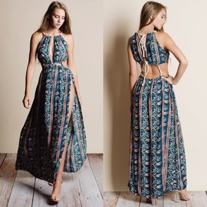 Cut Out Floral Print Maxi Dress - TEAL
