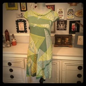 Anthropologie jersey dress, geometric print