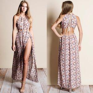 Cut Out Floral Print Maxi Dress - BLUSH