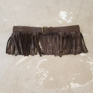 BCBGMaxAzria Faux Leather Fringe Belt