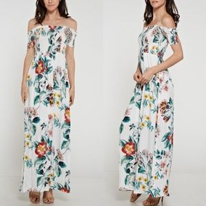 Off Shoulder Floral Maxi Dress - IVORY