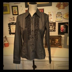 Black Striped Tuxedo Collared Shirt