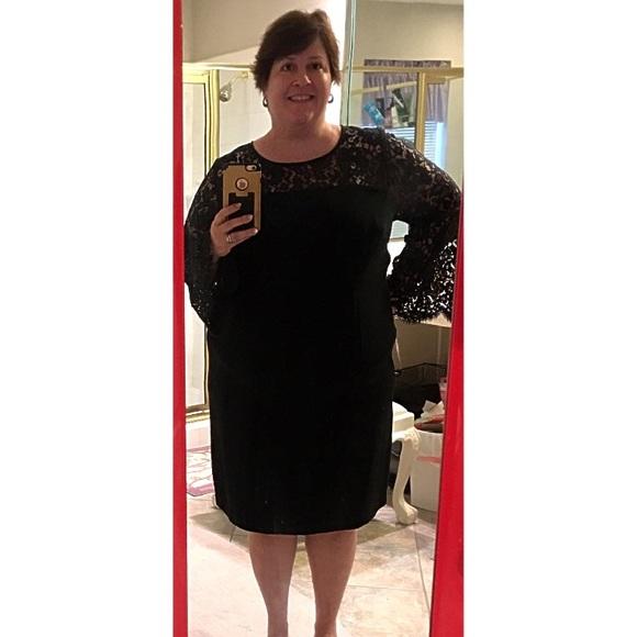 Talbots Dresses - Talbots Black Cocktail Dress Formal Lace 18W Plus