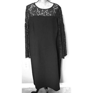 Talbots Dresses - Talbots Black Cocktail Dress Formal Lace 18W Plus