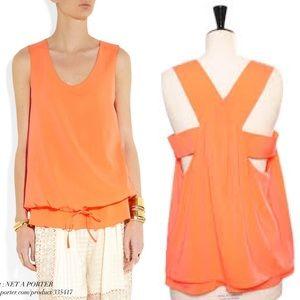 ✂️✂️ NWT Chloe orange silk tank with draw string