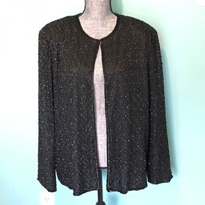 Vintage Jackets & Coats - Vintage Silk Sequin Beaded Jacket 2X Plus Size