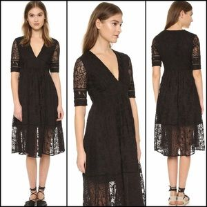Free People Womens Laurel Lace Elbow Sleeves Dress