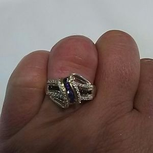 10 kt yellow gold sapphire and diamond ring.