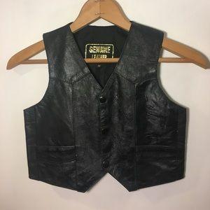 GENUINE LEATHER 3-Button Vest Youth Medium Pockets