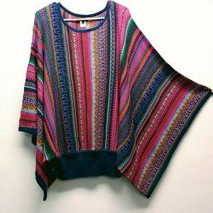 Novica Multicolored Light Sweater w/ Poncho Sleeve