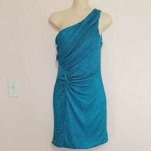 As U Wish Dresses & Skirts - As U Wish Teal One Shoulder Party Dress