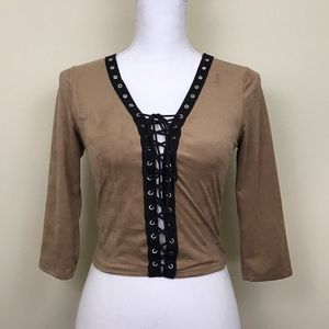 Faux Suede Lace Up Brown Crop Top