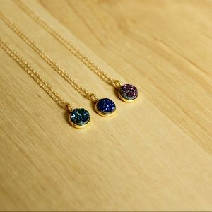 Jewelry - Sparkly Druzy Necklaces-Blue, Green, Violet 💙💚💜