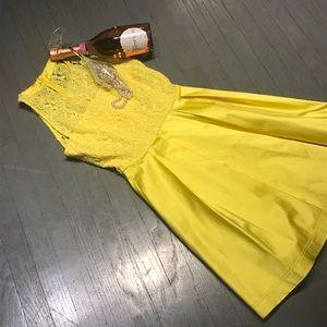 Karen Millen Dresses & Skirts - Karen Millen Bold Yellow Lace Panel Satin Dress