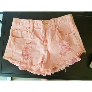 Light Pink High-Waisted Distressed Jean Shorts