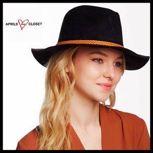 ❤️1-HOUR SALE❤️Black Vegan Suede Panama Fedora Hat