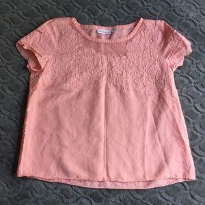 Isaac Mizrahi pink size L linen/cotton blouse