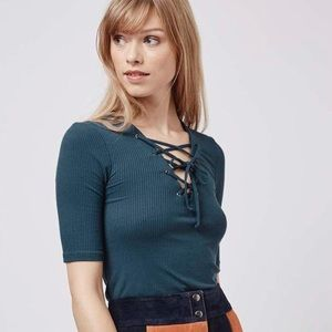 Topshop Tops - Topshop Tie-up Ribbed Top