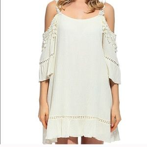 0d8d4faa11bdaf ... Boutique cold shoulder mini dress with lace sz L ...