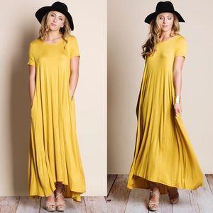 Mustard Maxi T Shirt Dress