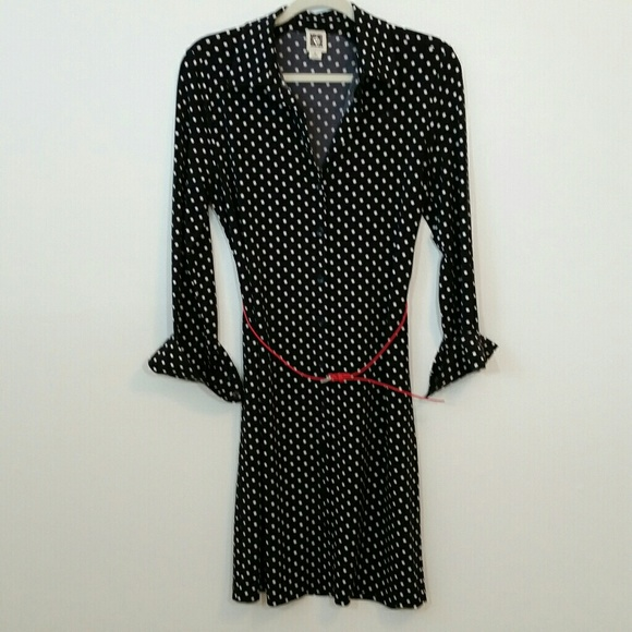 6ad1a58c5af Anne Klein Dresses & Skirts - Anne Klein Black White Polka Dot Shirt Dress