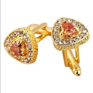 Men's Gold Stone & CZ Triangle Cufflinks