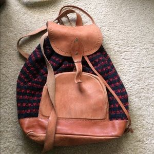 Genuine leather black and red back pack