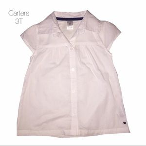 Carters White Flare Button Up Blouse 3T NEW