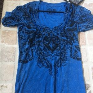 Affliction Tops - Nwt Affliction tee size large from buckle w/ bling