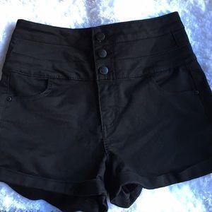 Tinseltown Pants - Tinseltown 3 Button High Waist Denim Shorts