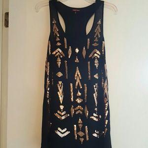 Black Racerback dress with Gold Sequin design