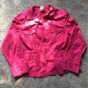 Large Petite Hot Pink Lightweight Crop Jacket