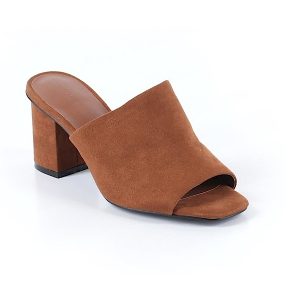 Zara Basic Collection Brown Suede Block Heel Mules.  M 5952ccc6c2845610590d0226