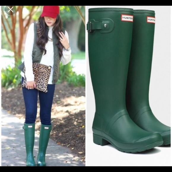 1ea35f361e6 Tall Matte Green Hunter Boots