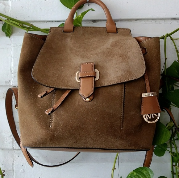 17660f81e528ea Michael Kors MK Romy Medium Suede Leather Backpack.  M_5952d00d7fab3aabe201ad17