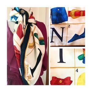 Nina Ricci Silk Scarf, Large, Gift, Vintage