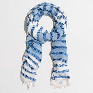 🆕 J.Crew Blue/White Embroidered Striped Scarf