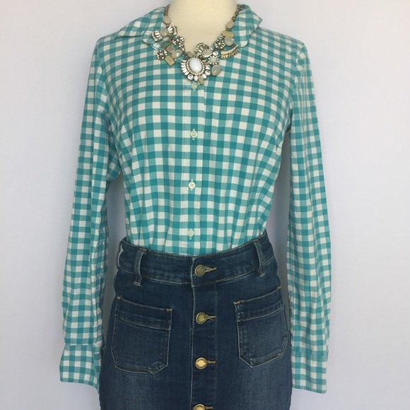 66 Off J Crew Tops J Crew Blue Gingham Button Down