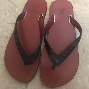8144fa1d0f8800 Louis Vuitton Shoes - Louis Vuitton Camo flip flops