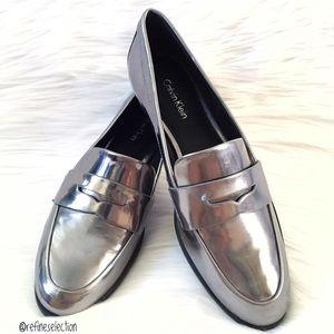 Calvin Klein Celia Metallic Grey Penny Loafers