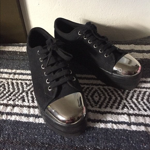 054c57c3ed3a Jeffrey Campbell Shoes - JC Play Black Platform Low Top Mirror Toe Sneaker