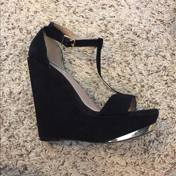 d3ed94350ab Steve Madden T-strap wedges with gold accents