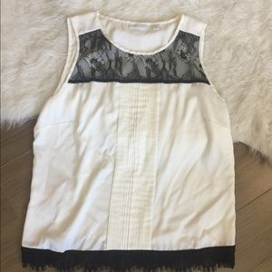 New York & Company Tops - White top size L with black lace